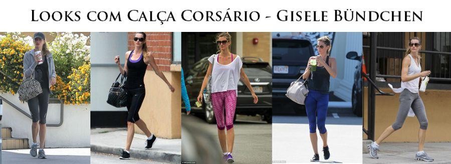 Calça Corsário - looks fitness de Gisele Bundchen