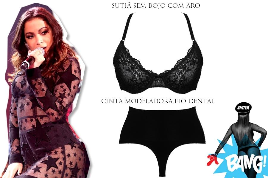 Look da Anitta no Faustão - vestido transparente e lingerie