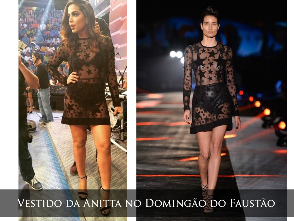 Vestido transparente de Anitta no Faustão