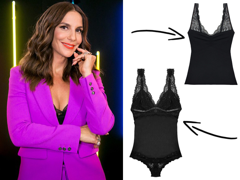 Look da Ivete Sangalo no The Voice Kids - Body Preto com renda