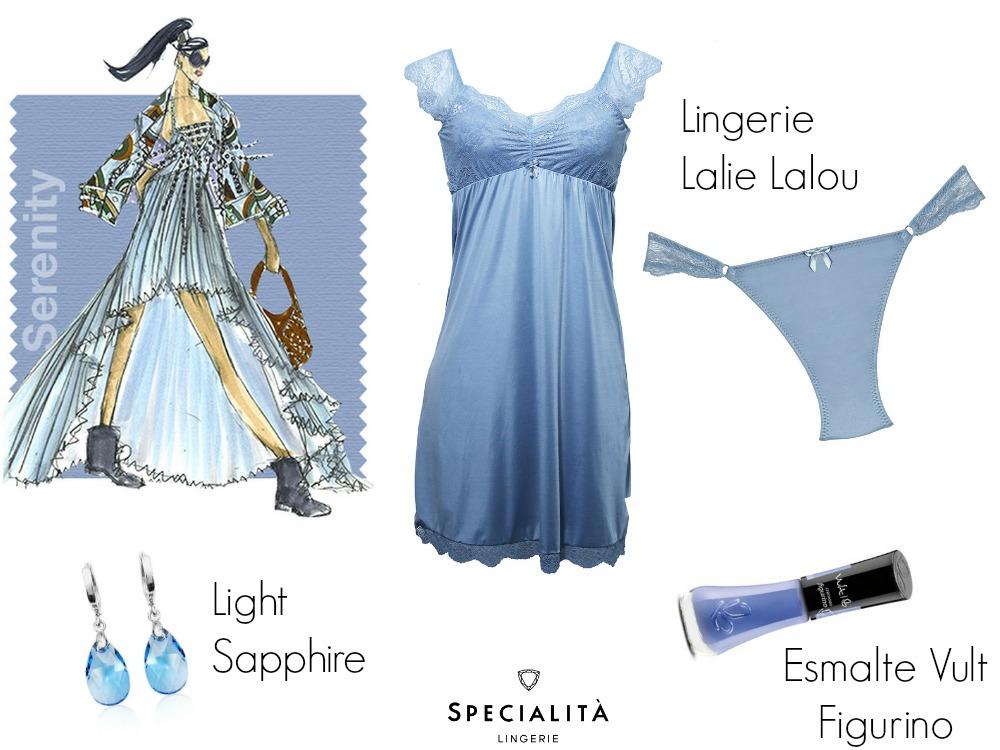 Serenity - azul da Pantone em lingerie