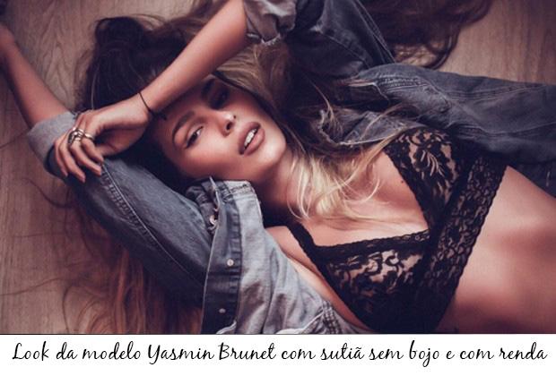 Yasmin Brunet usando sutiã sem bojo