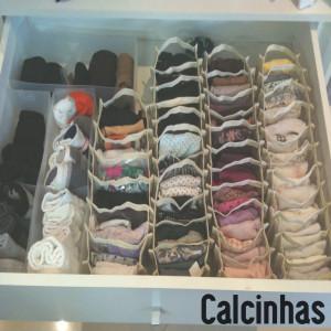 Gaveta de calcinhas organizada