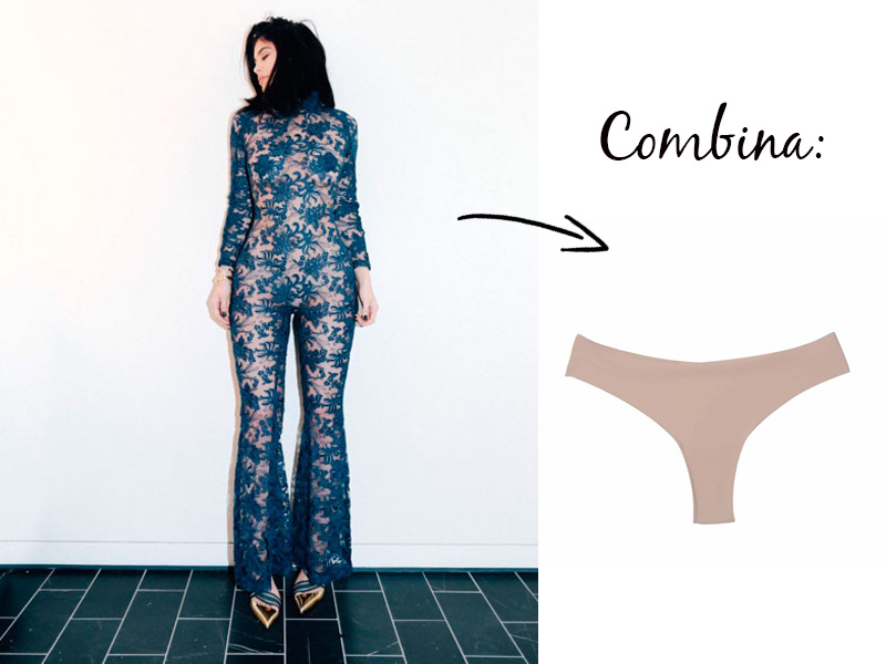 Kylie Jenner - lingerie para transparência
