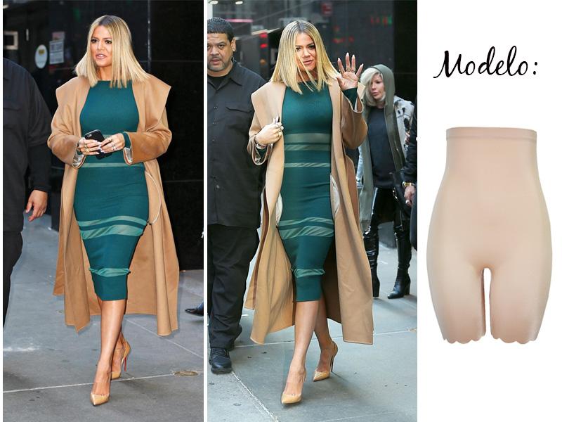 Khloe Kardashian com bermuda modeladora