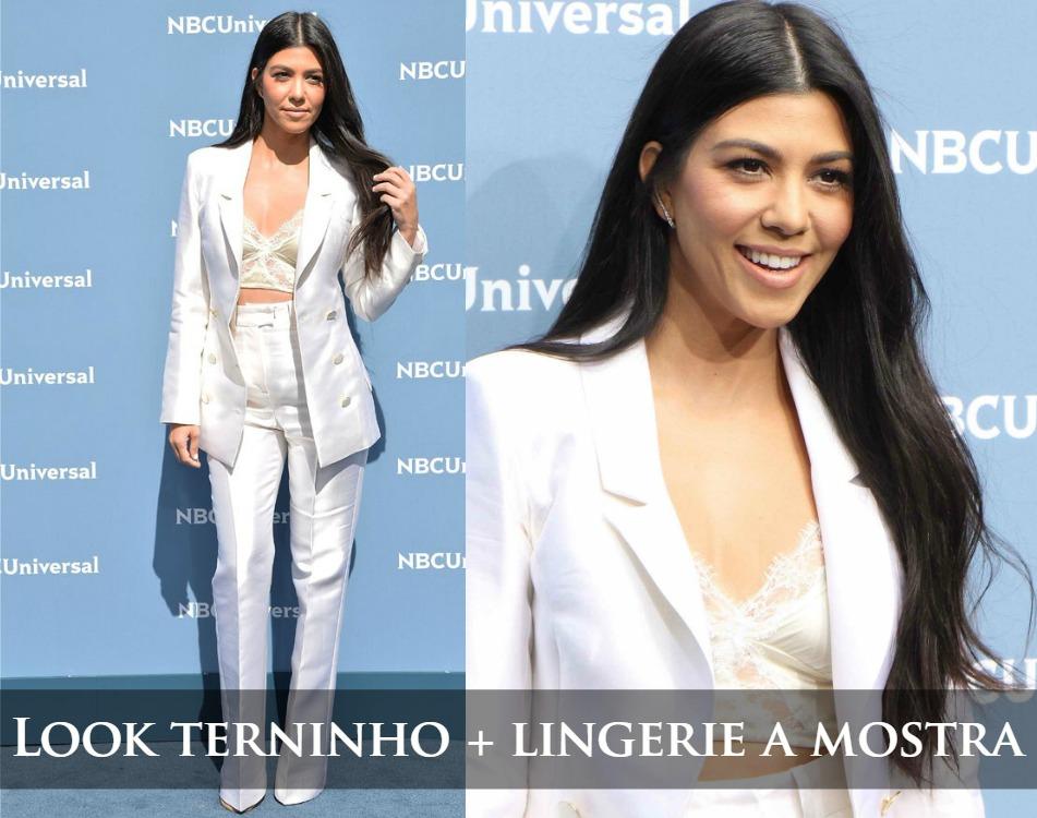 Look terninho branco e lingerie a mostra - Top Cropped -Kourntey Kardashian