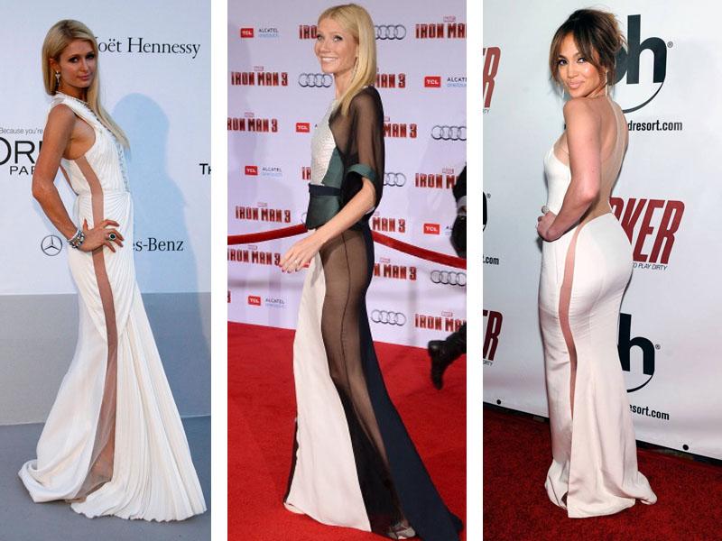 Celebridades com vestido transparente na lateral